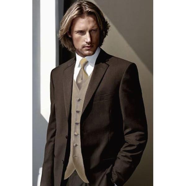 Abiti da sposa su ordine stile classico a due pulsanti Brown smoking dello sposo Groomsmen Mens Prom Dress (Jacket + Pants + Vest) A141