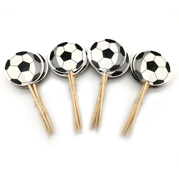 Boys Favors Football Theme Cake Topper Happy Birthday Party Soccer Cupcake Toppers With Sticks Decorate Baby Shower 24pcs/pack
