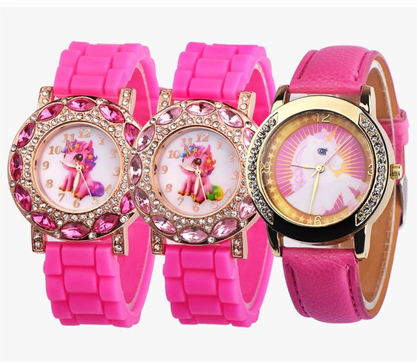 Lovely Pink Unicorn Children Wrist Watches Diamond Cartoon Leather Strap Kids Quartz Watch For Boy Clocks Relogio Masculino