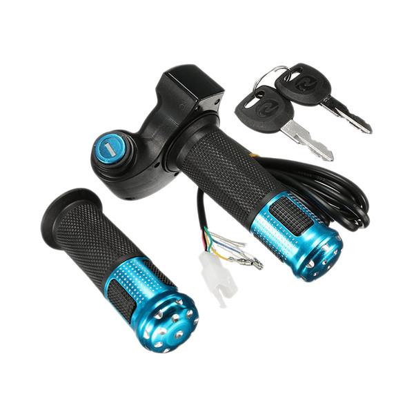 2PCS Vélo électrique Scooter poignée des gaz avec LED Guidon compteur numérique Tube + 2 clés
