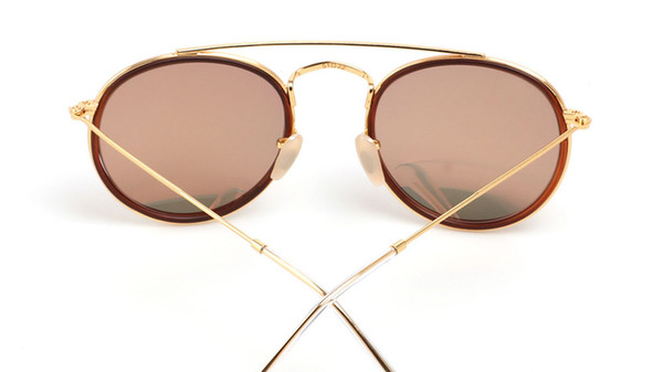 Wholesale-Highest Quality Round Style Sunglasses for Men Alloy frame Mirrored glass lens double Bridge Retro Eyewear with box and cases