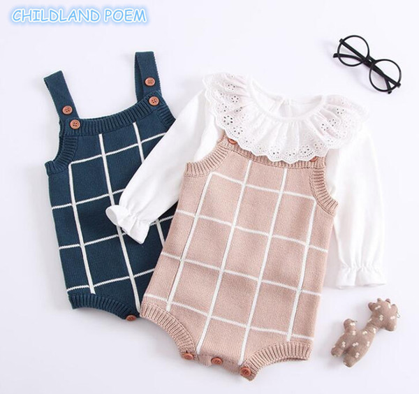 Knitted Romper Cotton Woolen Baby Girls Boys Clothes Newborn Infant Jumpsuit Plaid Sleeveless Toddler Overalls Outfits Q190520