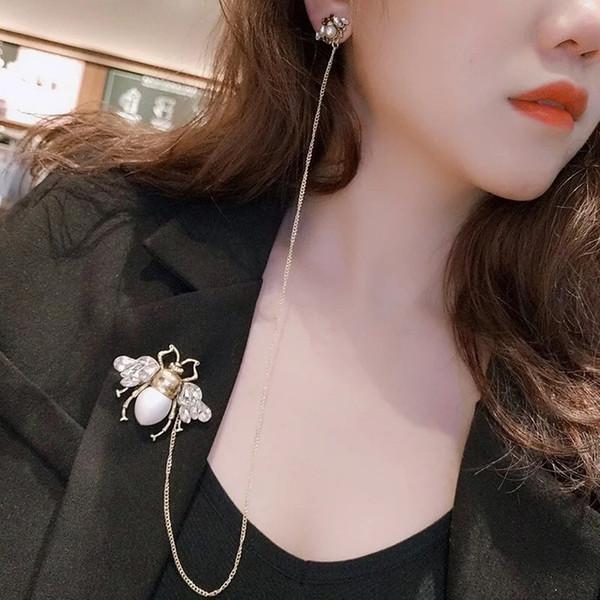 2019 New women's Bee crystal diamond craft brooch earring goddess essential charming elegant