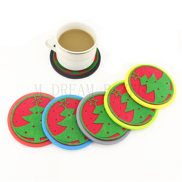 Silicone Coasters With Absorbent Soft Felt Insert Cup Mat Round Snowflake Christmas Tree Design Unique Two in One Coaster Set