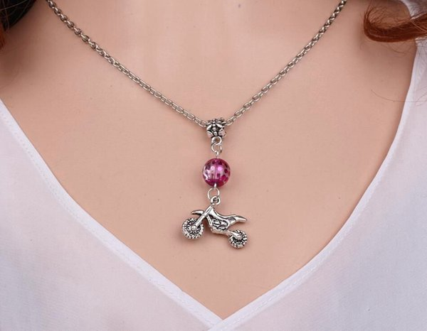 Autocycle Motorcycle Necklace Pendant Vintage Silver Charms Choker Collar Acrylic Bead Statement Necklace Jewelry Women Gift DIY Accessories