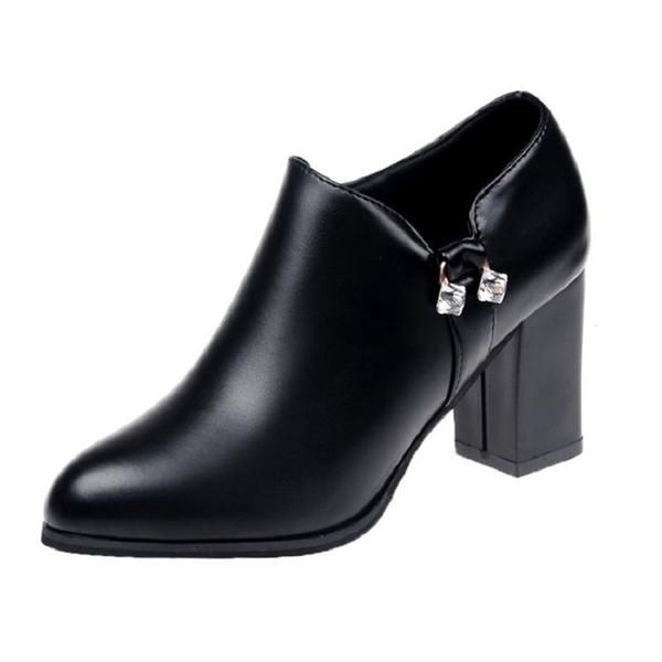 Designer Dress Shoes Crude Heel Rhinestones High Heels 2019 Autumn New Korean Female Pointed Leather Fashion Wild Single Casual