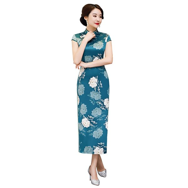 New Arrival Plus Size XXXXXL Chinese Women's Elegant Long Qipao Printed Lady Qipao Silm Dress Cheongsam Sexy Dress Clothing