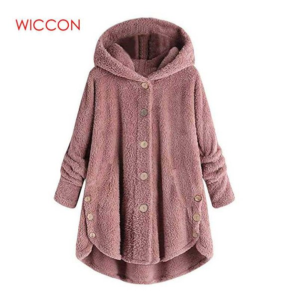 fashion 2018 selling women button coat fluffy tail  hooded pullover loose sweater spring wear multi colour