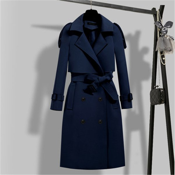 Women Plus Size Classic Hoodie Double-Breasted Solid Casual Trench Coat with Belt