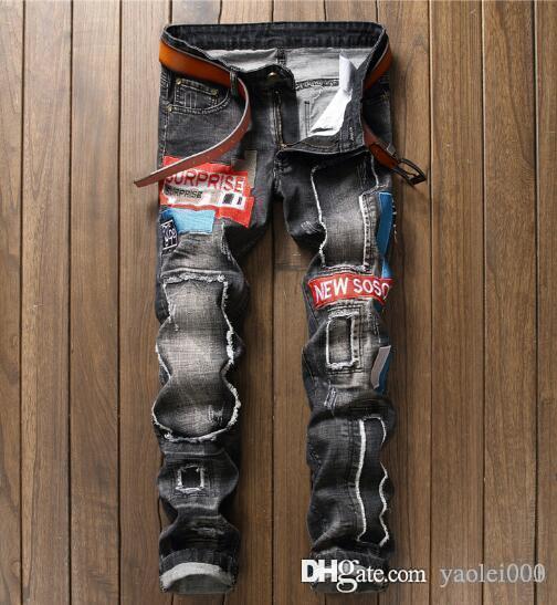 Diseño original nuevo estilo europeo y americano moda hombre agujero hombres jeans moda bordado pantalones de hombre