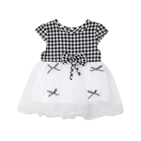 Le neonate del neonato vestono il vestito dalla manica corta dei bambini del plaid 2pcs gli abiti hanno messo i vestiti per 0-24 mesi