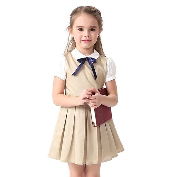 Grande Fille D'été Robes Bowknot Enfants Robe Uniforme Scolaire Bleu Khaki Couleur Coton 2018 Princesse De Noce Pour 4-14 ans