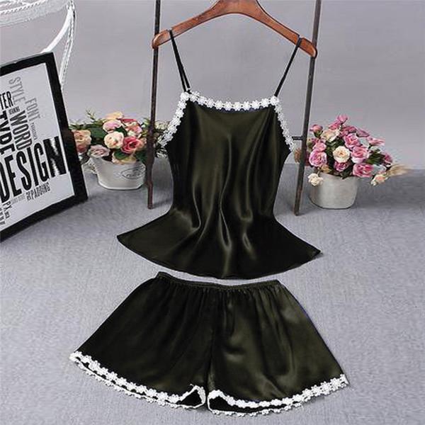 2018 new nightgown women lingerie deep-v shoulder-strap faux silk lace floral pyjamas sleepwear dress nightdress homewear
