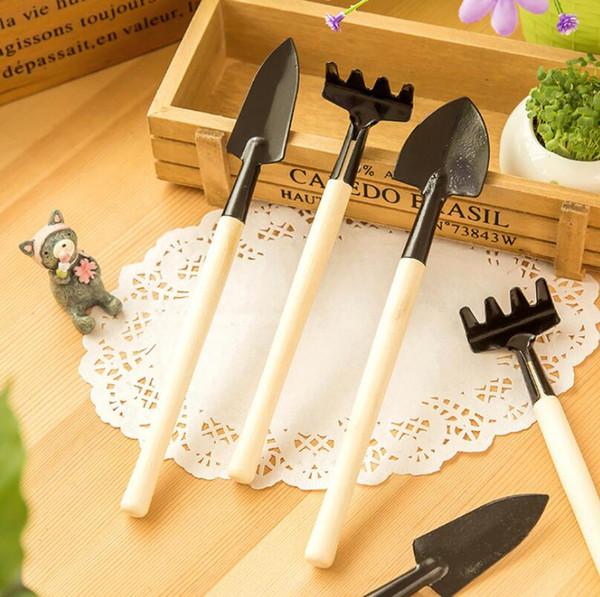 3Pcs/Set Mini Garden Hand Tool Kit Plant Gardening Shovel Spade Rake Trowel Wood Handle Metal Head Gardener LX5977