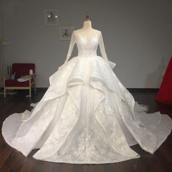 Libano Abiye 2019 Pizzo Abiti da sposa maniche lunghe Vintage Ruffles Tiered Puffy Abiti da sposa Impero Robe De Mariee Casamento