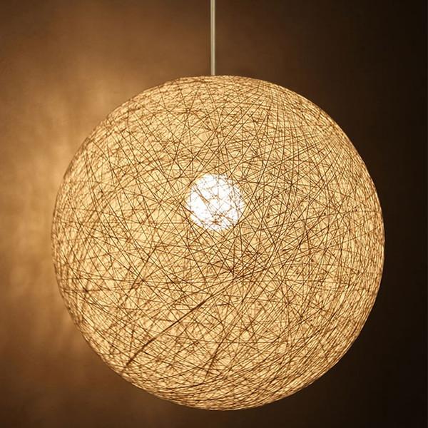 Creative Hand-Woven 3D Fabric Wicker Ball E27 Pendant Light for Decoration Restaurant Bar Cafe Lamps ChandelierDia 35CM/45CM/60CM