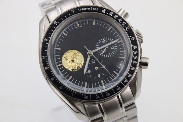 Luxury Top Qualiy 0256 GMT Автоматические часы Мужские часы Черный циферблат из нержавеющей стали Нержавеющая сталь Мужские часы Monor Hemmo