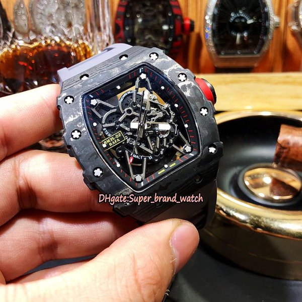 Limited Edition RM 35-02 NTPT Best All Carbon Fiber Pattern Case Skeleton Dial Japan NH Automatic RM35-02 Mens Watches Gray Rubber Strap B04