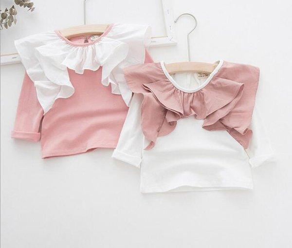 Ins Korea Girl Abbigliamento per bambini Camicia Collo tondo Manica lunga Con volant Camicia di design Ragazza estiva Camicia in morbido cotone 100%