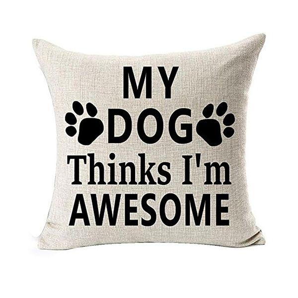 Melhor Amante Do Cão Presentes de Algodão De Linho Jogar Travesseiro Caso Capa Decorativa Home Office Lance Travesseiro Capa l0725