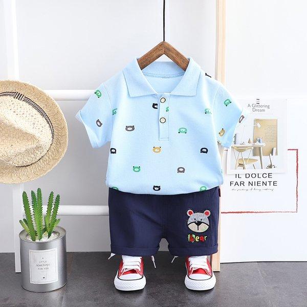 Light Blue Sj Solid Color Bear Short Sle