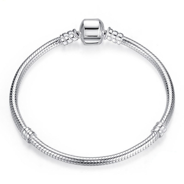 2019 DIY Beads Pandora silver plated Heart Pave CZ Bracelet for pandora Chain with Bracelets 3MM snake Letter Stamp DIY bracelets gift