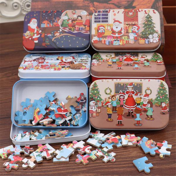 60 Stück / Set Weihnachten Wooden Puzzle Kinder Spielzeug Weihnachtsmann Puzzle Weihnachten Kinder frühe pädagogische DIY Puzzle für Kinder Christmas Baby-Geschenke