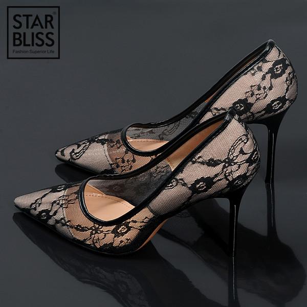 Elegante Spitze Frauen Pumpt Hohe Absätze Transparente Blumengitterstrümpfe Rose Spitze Hochzeit Schuhe Frauen Spitz Sexy Party Schuhe