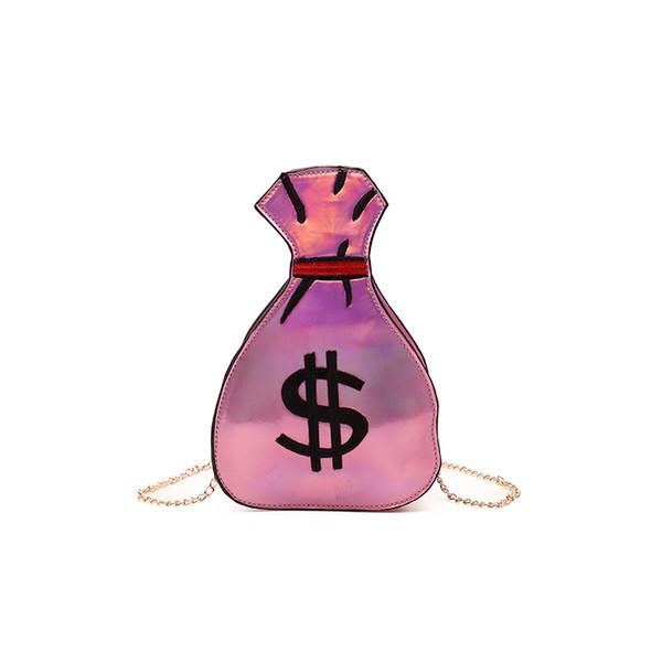 Designer-Fashion Women Holographic Purse and Handbags Chains Shoulder Crossbody Bag Hologram Dollar Paern Purse Girls Wallet Bag