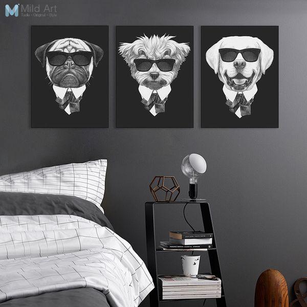 oster print Modern Schwarz Weiß Italien Mafia Mode Tiere Hund Katze Poster A4 Vintage Wandkunst Nordic Wohnkultur Leinwand Malerei ...