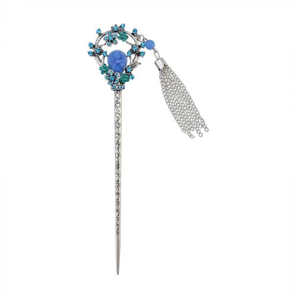 New Chinese Traditional Vintage Silver Hairpin Fashion Ethnic Tribal Rhinestone Flower Tassel Headdress Women Hair Clip Jewelry C19010501