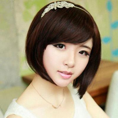 Fashion Womens Party Cosplay Wigs Full Short BOB Straight Wig Hair Black/Brown for women wig Free deliver
