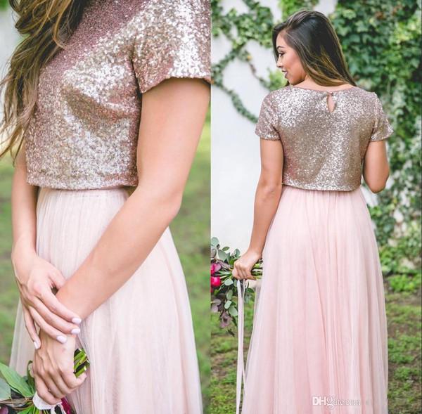2018 Dos Piezas vestidos de dama de longitud de lentejuelas de oro rosa brillante Mangas cortas Maid formal de honor del partido de los vestidos de los vestidos
