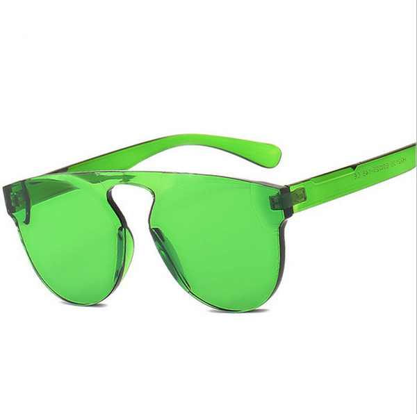 2019 Jelly frameless Fashionable women PC Thick film Sunglasses UV400 Retro Eyewear candy colors Gradient ladies designer sunglasses H92106