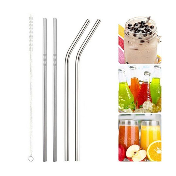 Hoomall 1/2/4pcs Reusable Drinking Straw Metal Straw With Cleaner Brush For Home Party Stainless Steel Straw Barware Gadgets C18112301