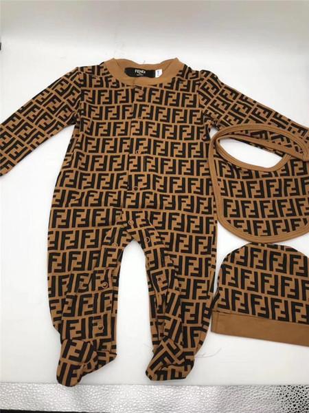 Bébé Garçons Filles Lettre FF Designer Romper Manches Longues Coton Combinaison + Chapeau + Bavoir 3pcs / set Toddler infant Barboteuse Marque Fends Vêtements C9301