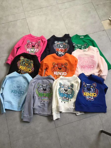 top popular Kids Clothing Baby Sweaters 2019 Autumn Newest Fashion Children Cotton Woolen Sweaters Exquisite Tiger Head Embroidery For Kids Sweatershirt 2019