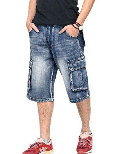 Ruiatoo Men's Outdoor Cargo Multi-Pocket Short Denim Jeans