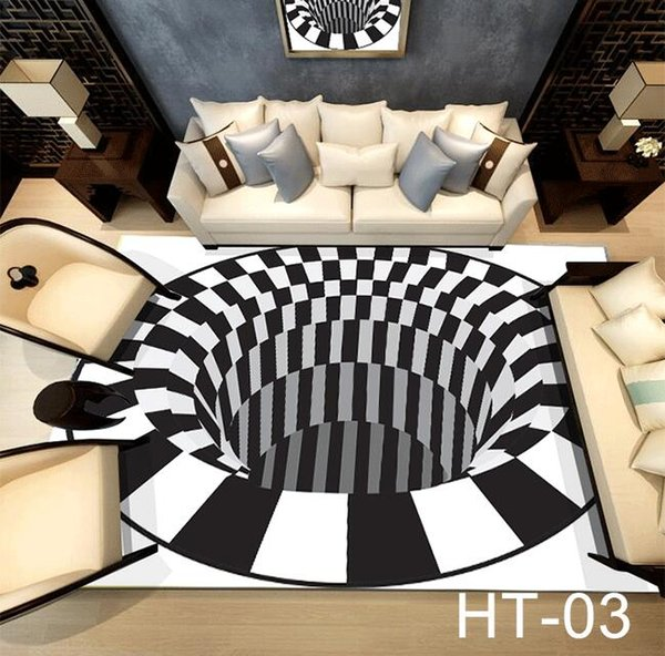 2019 Alfombras Alfombra de lujo 3D Ilusión óptica no Slip Baño Sala estera del piso de la impresión 3D dormitorio cabecera de la habitación Mesa de la alfombra