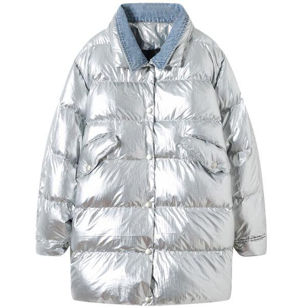 Shiny Jacket Women Cotton Coat Sustans Girl's Streetwear 2019 Winter New Fake two Pieces New Fashion Female Parka Oversize