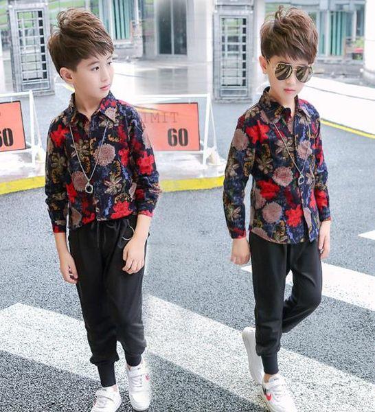 best selling New casual Korean boy shirt long sleeve spring autumn children's shirt boys stand collar printed shirt