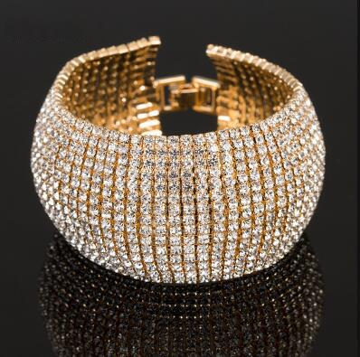 Moda Rhinestone cheia de jóias para o partido clássico do casamento de Cristal Mulheres Luxo Pave Fazer a ligação Bracelet Bangle Acessórios