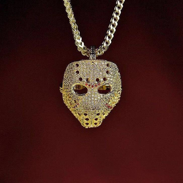 Vintage Iced Out Mask Pendant Necklace With Gold Chain Fashion Hip Hop Jewelry Cubic Zirconia Mens Necklace