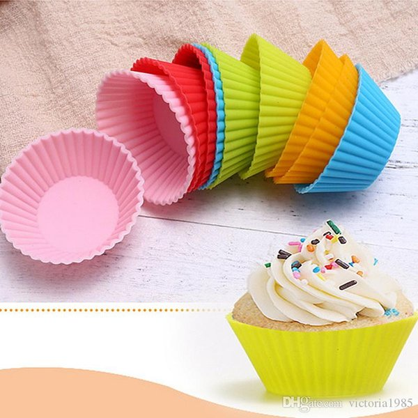 7cm Muffin Silicone Mold Bakeware Cupcake Liners Mold Baking Cake Decorating Tools Kitchen Supplies Random Colors