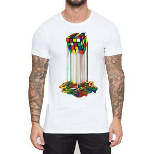 Rainbow Abstraction derritió el cubo de rubix Camisetas divertidas Camiseta corta de los hombres SPrintve Tops