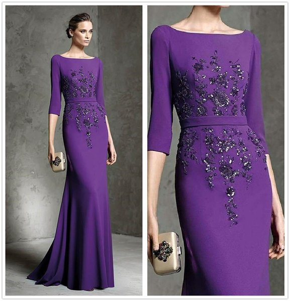 Purple 2019 New Mother Of The Bride Dresses Beaded Sequins Appliqued 3/4 Long Sleeve Evening Gowns Plus Size Wedding Guest Dress