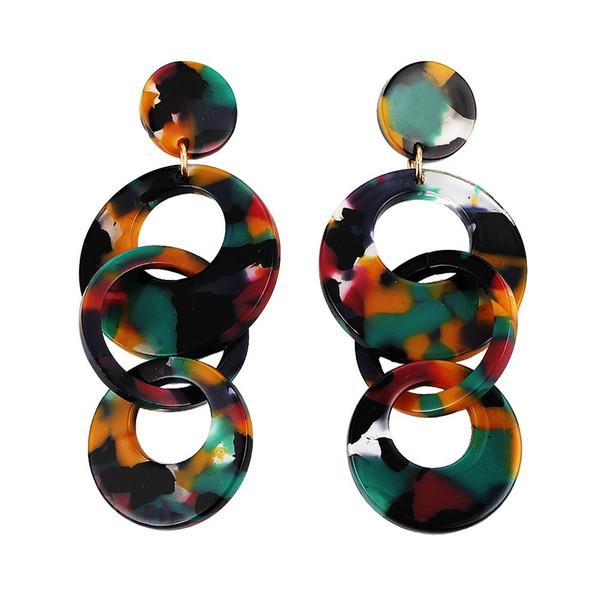Yiwu Usine Pas Cher Femmes De Mode Acrylique Géométrique Résine Drop Earring Dangle Vert De Mariage En Plastique Boucles D'oreilles 2019