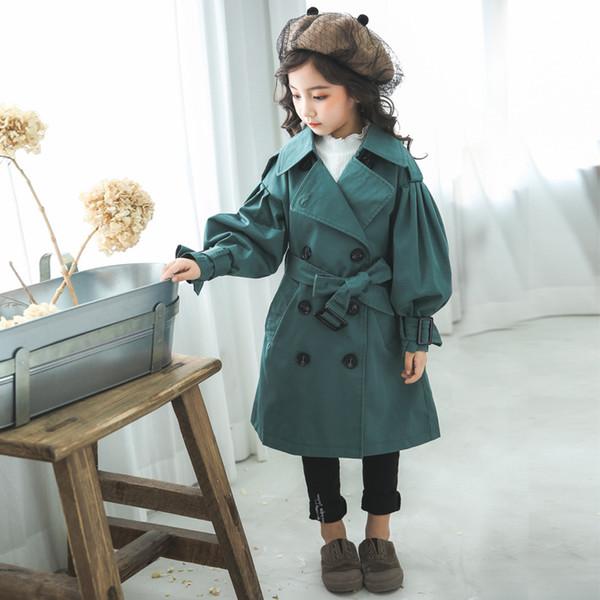 Ropa de niños niñas cazadora cortavientos de alta calidad primavera y otoño nuevos niños grandes linternas largas cinturón moda abrigo