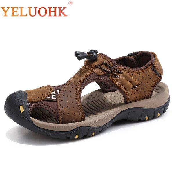 38-45 Sandalias de hombre Cómodas sandalias de cuero suave Hombres Verano 2018 # 239628