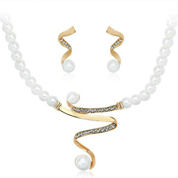 Alta qualidade imitação pérola elegante casamento jóias colar brincos conjunto feito com cristais austríacos